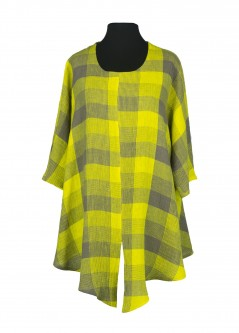 Stay Shirt Linen Chequers Yellow