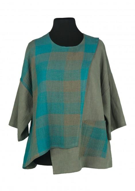 Gustav Shirt Linen Chequers Turquoise