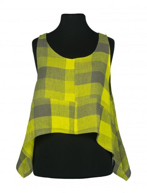 Ohtelia Vest Linen Chequers Yellow