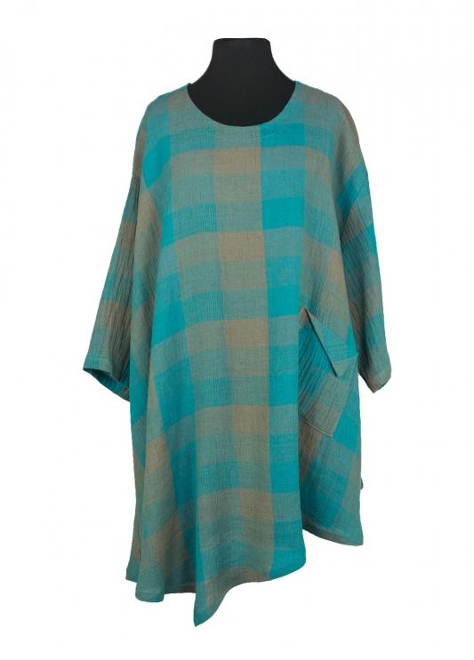 Amalfi Shirt Linen Chequers Turquoise