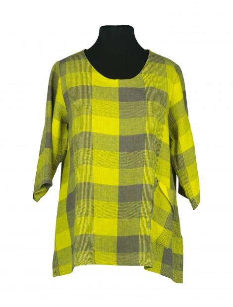 Tango Shirt Linen Chequers Yellow