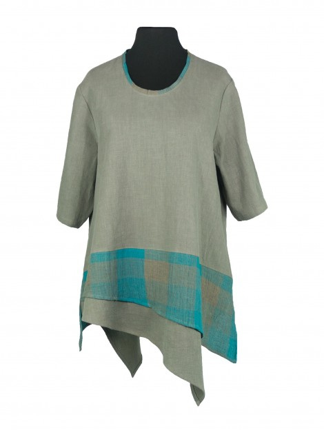 Daphne Shirt Linen Chequers Turquoise