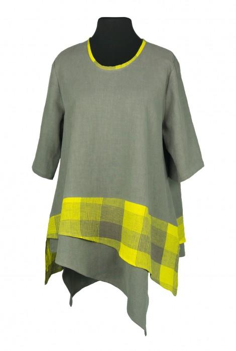 Daphne Shirt Linen Chequers Yellow