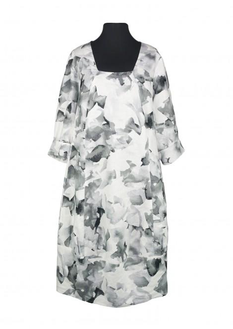 Hellery Leinen Kleid Blumen Print