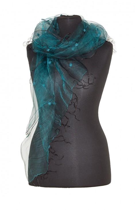 Silk-Organza Scarf Turquoise