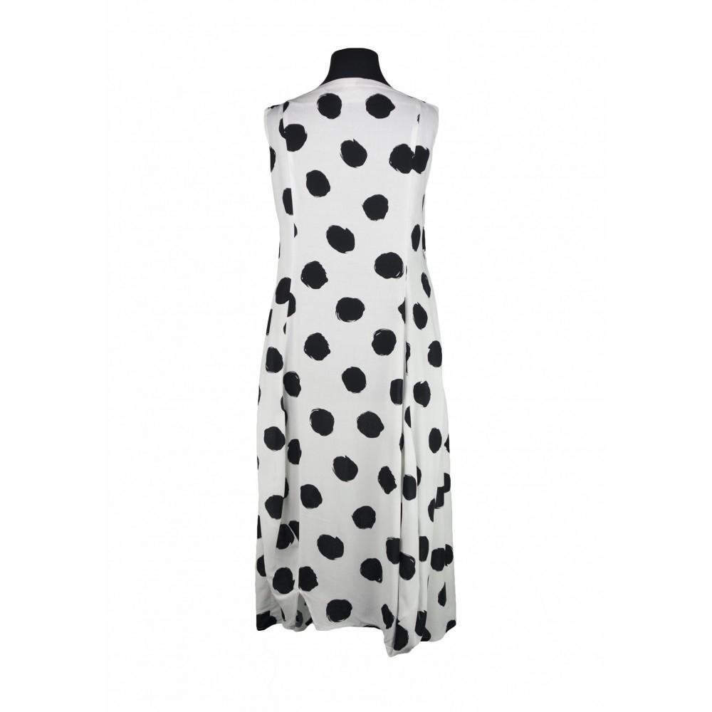 olympia kleid viskose weiß mit schwarzen punkten